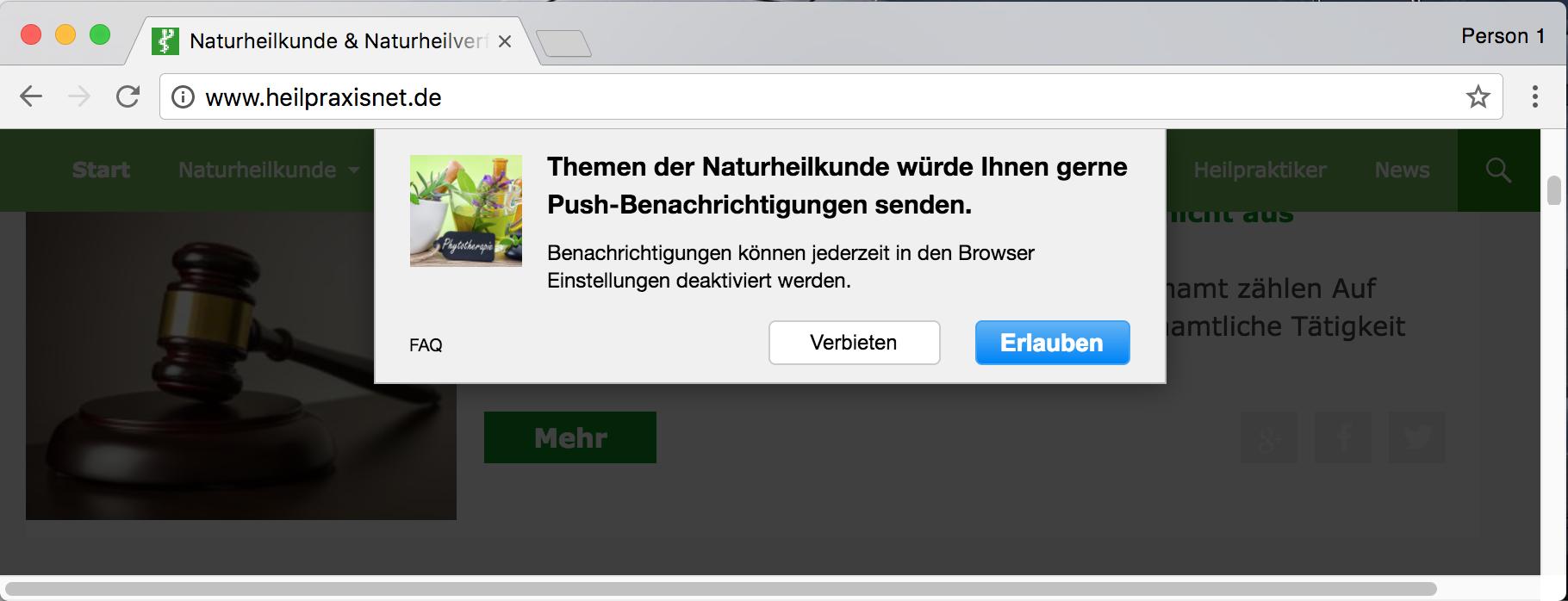 Heilpraxisnet Push Nachrichten Opt-In