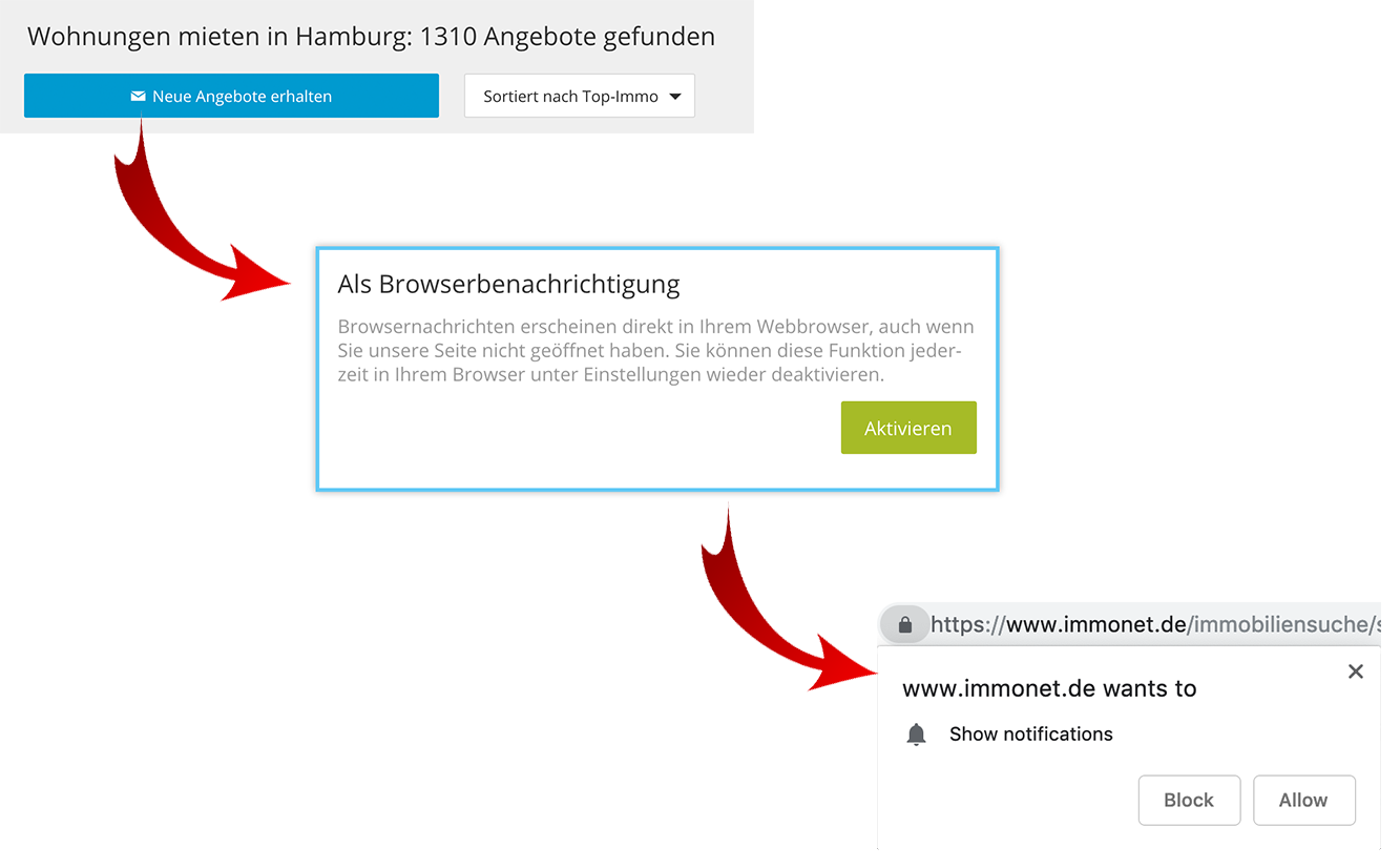 Web Push Opt-In bei Immonet.de