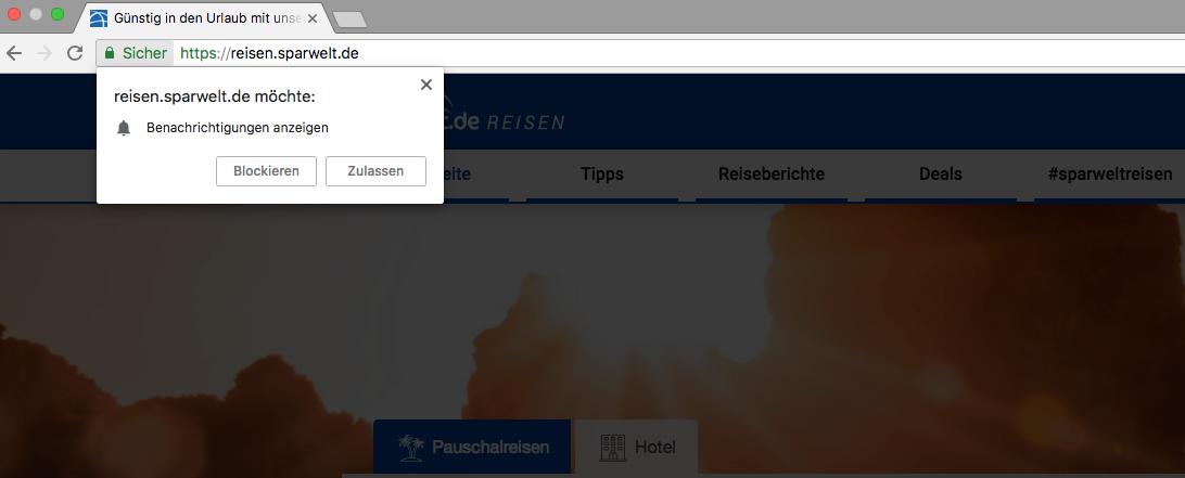 Sparwelt Push Nachrichten Opt-In